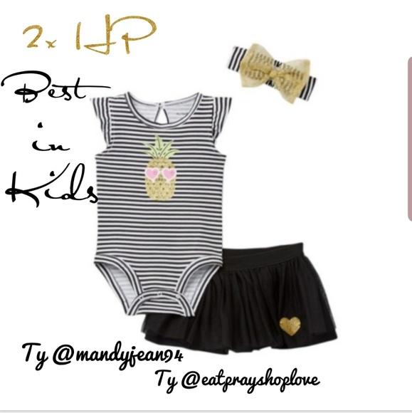 PL Baby by Petit Lem Pineapple Onesie Black 12MO